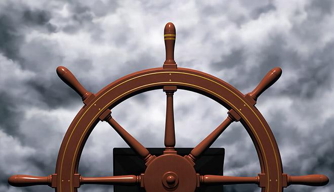 Roue de bateau par gros temps