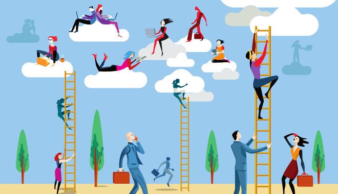Transformation digitale avec des hommes grimpant sur des échelles vers le ciel