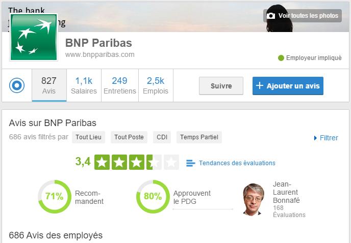 Capture d'écran du compte BNP Paribas sur le site Glassdoor