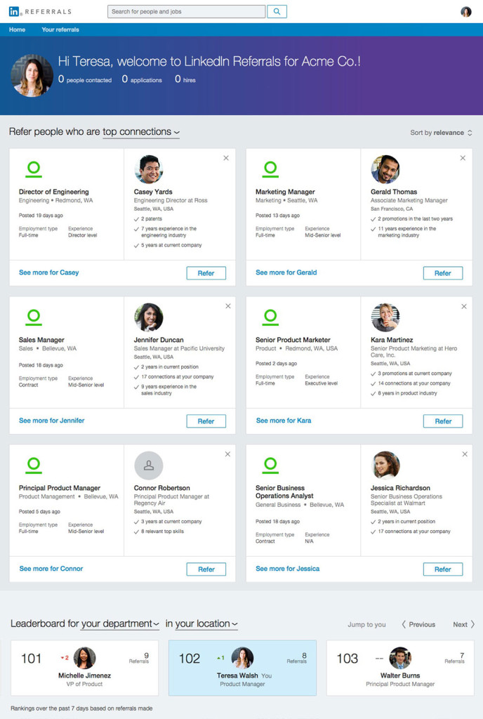 LinkedIn Referrals Employee Recommendations