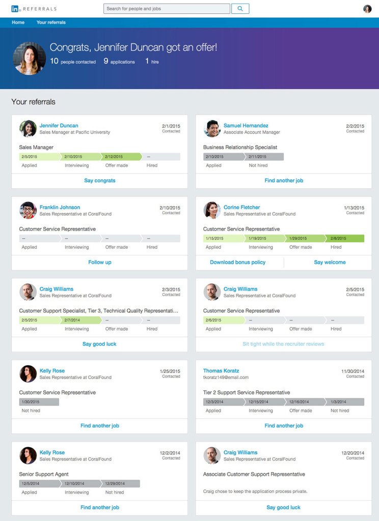 LinkedIn Referrals Employee Updates