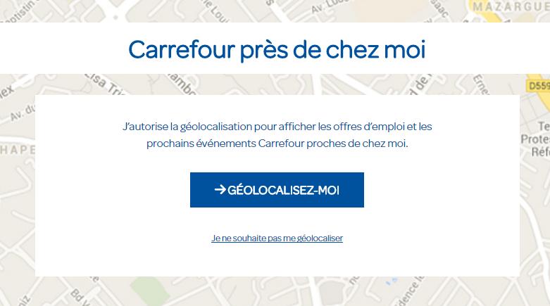 Carrefour site de recrutement - géolocalisation