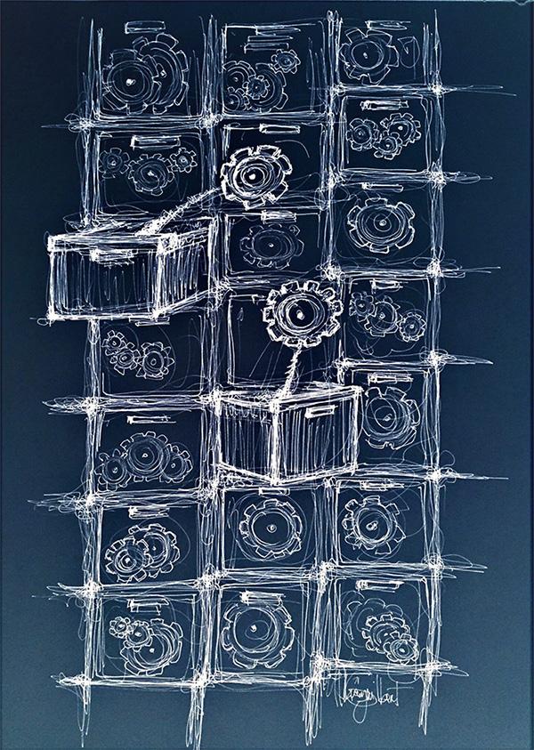 Casiers rouages, un dessin de Thierry Guilbert