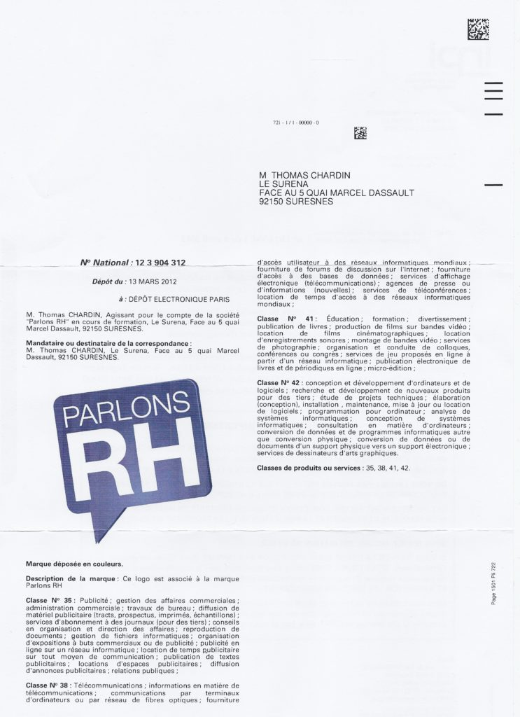 Parlons RH dépôt de marque INPI