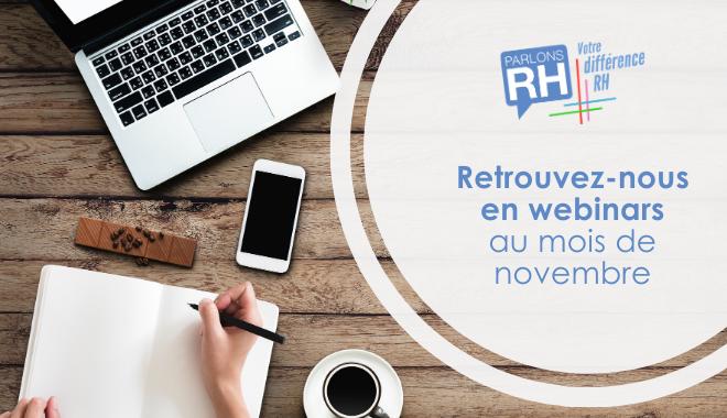Retrouvez Parlons RH lors de nombreux webinars au mois de novembre