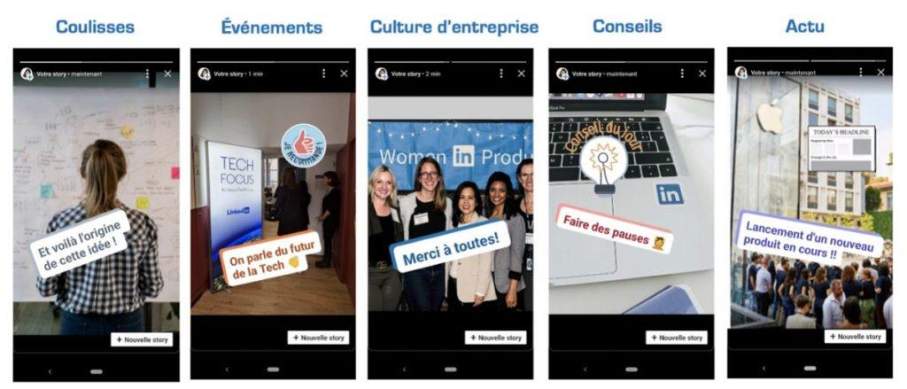 exemples RH et marque employeur sur LinkedIn Stories